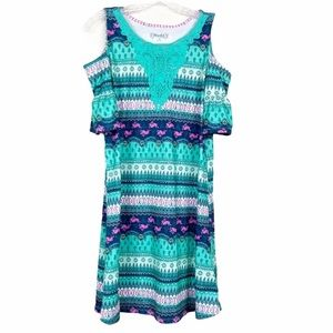 Mudd Easter dress with bunny print cold shoulder
